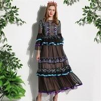 Uniquewho дамы Для женщин Винтаж Сетчатое платье тонкий Роскошные платье с вышивкой черный бальное платье длинные Платья для вечеринок для сезо