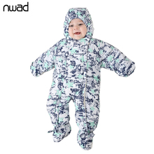 NWAD Baby Boy Girl Rompers 2017 Winter Newborn Baby Clothes Warm Satrs Print Hooded New Born Clothing FF203