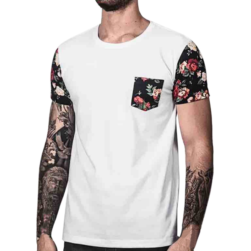 Mens T-shirt 2018 Summer Slim Fit Floral Printing t shirt Men short sleeve Patchwork t shirt Men tshirt Camisetas Swag t shirt