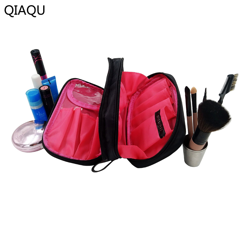 QIAQU Cosmetic Bags Makeup Bag Women Travel Organizer Professional Storage Brush Necessaries Make Up Case Beauty Toiletry Bag hdwiss fashion toiletry bag women cosmetic bags necessaries makeup organizer make up case cb015