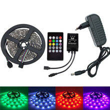 5050 SMD Strip Light 60LEDs/M RGB Color Flexible LED Tape 12V with Music Controller and Power Supply 2A(China)