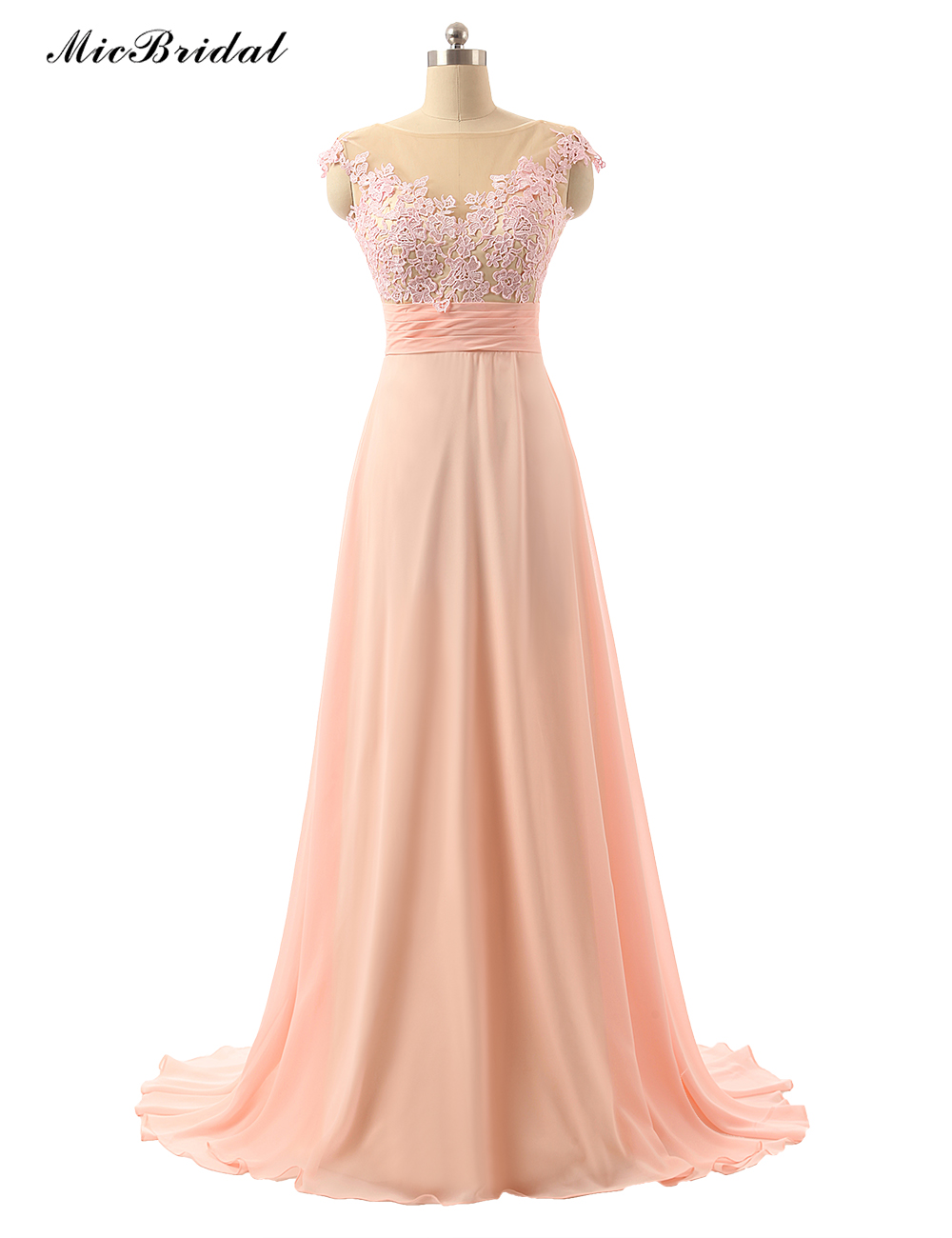Micbridal cheap a line blush bridesmaid dress 2016 long for Cheap formal dresses for wedding guests