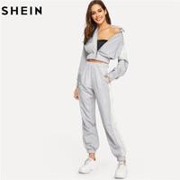 SHEIN Grey Color Block Windbreaker Jacket Pants Set Women Sporting Two Piece Set Top and Pants Short Top 2Piece Set Women