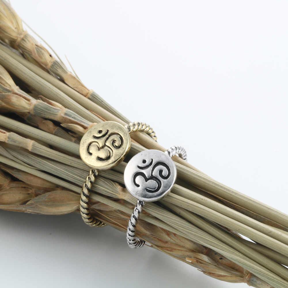 Cxwind moda hinduskie 3 Om pierścień joga medytacja pierścień wieżowych pierścienie kobiety przyjazne dla środowiska Om Ohm Symbol joga sanskryt pasek pierścień