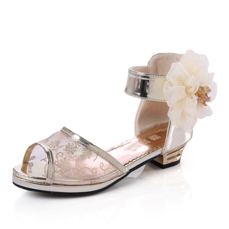 Mudipanda Girls Sandals Kids Princess Shoes High Heel Sandals Peep-toe Silk Lace Flower Children Shoes For Girls Party Sandalias