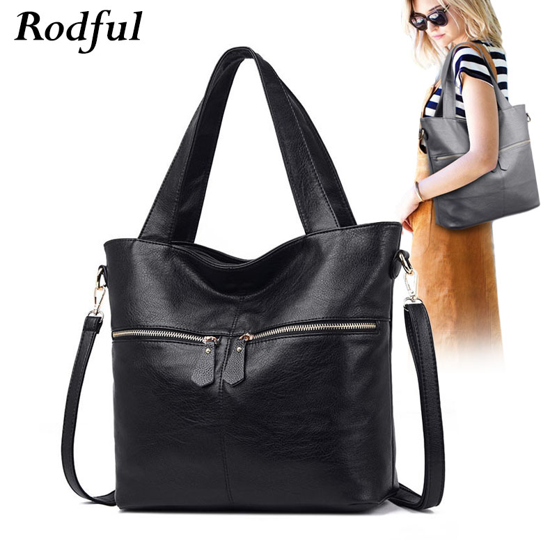 Rodful soft large tote shoulder bag women big gray black leather shoulder handbags for women fashion casual ladies hand bags newRodful soft large tote shoulder bag women big gray black leather shoulder handbags for women fashion casual ladies hand bags new