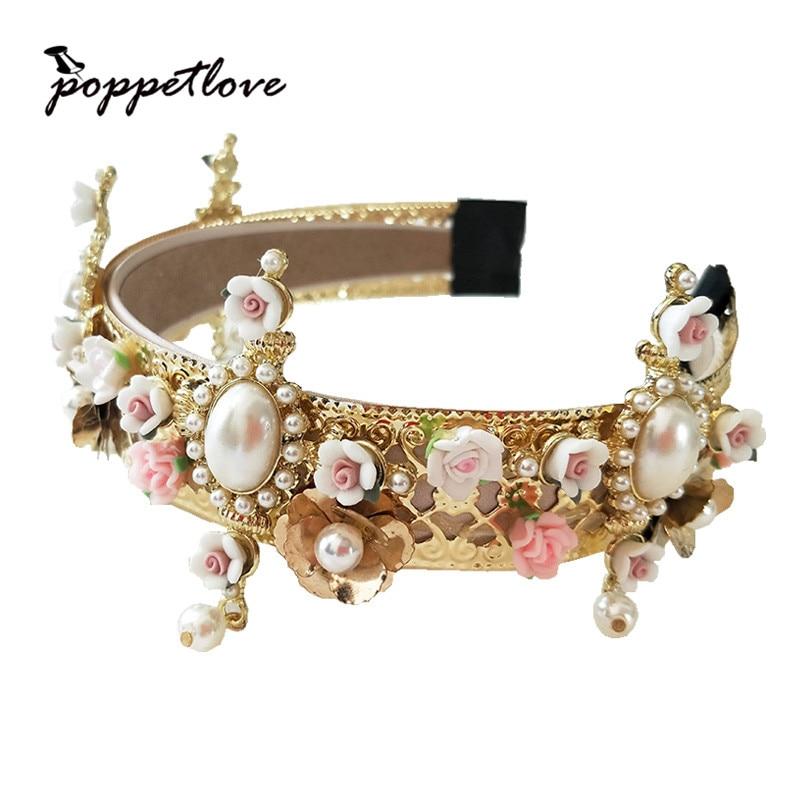 Europe Baroque Royal headband Crown vintage metal flower cross wind flower tiara Bridal Accessories flower design headband