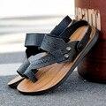 Moda 2 estilo vistiendo sandalias de los hombres sólidos slip-on sandalias de hombre zapatillas de verano flip flop suave hombres informal al aire libre planos de diapositivas