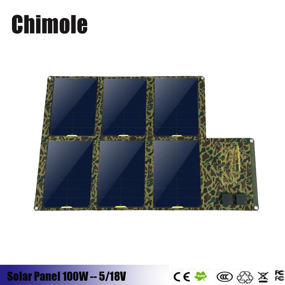 Chimole Solar Charger 100W Sunpower Solar Panel Charger 5V USB + 18V DC Laptop Charger for NoteBook Laptop Tablet xiaomi Huawei buheshui 40w sunpower solar panel charger usb 5v