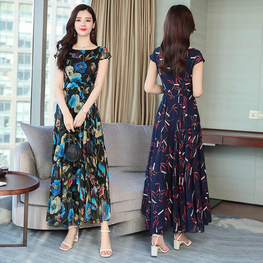 2019 винтажные элегантные цветочные шифоновые Boho летние миди-платья 4XL плюс размер пляжный Макси-сарафан с принтом женские облегающие вечерние платья