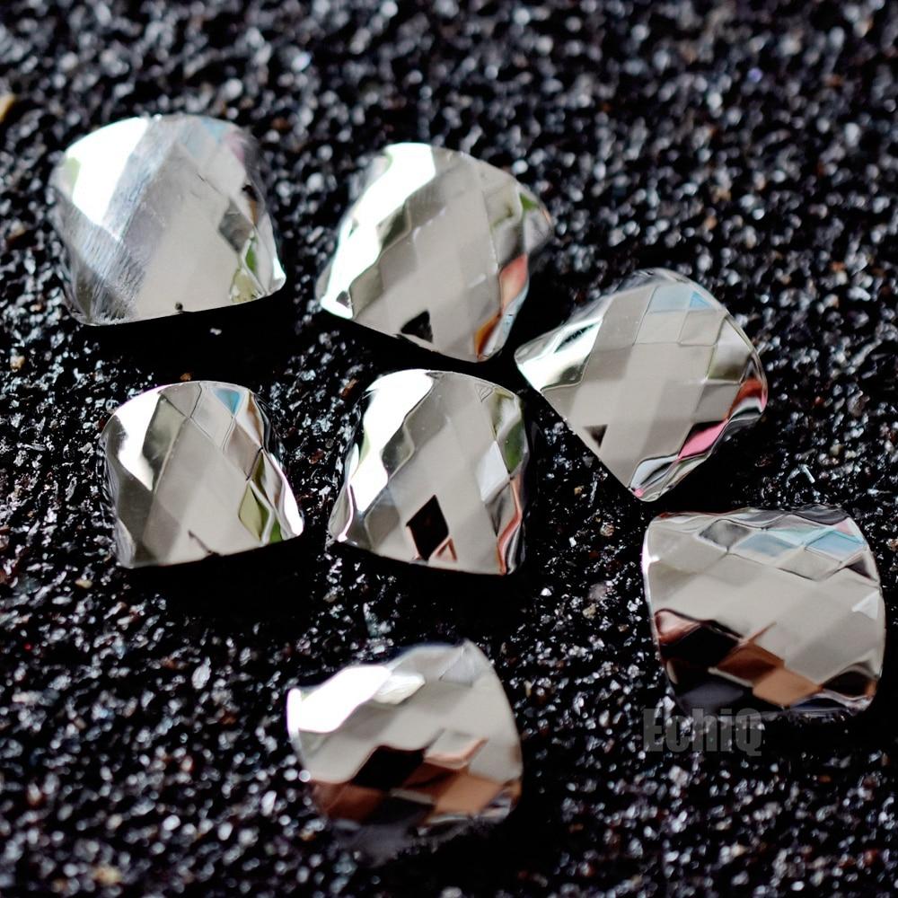 Silber Metallic Kappe Falsche Nägel Diamant Muster Platz Voller Wrap ...