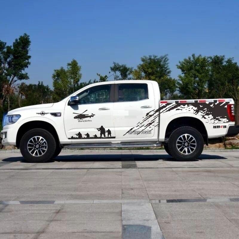 Autocollant de corps entier KK matériel pour HILUX VIGO RVEO L200 autocollant de corps de porte latérale de voiture de ramassage adapté pour HILUX MITUBISHI L200