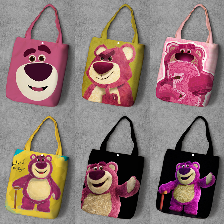 IVYYE Lotso Bear Fashion Anime Canvas Shopping Backpack Casual Large Capacity Customized Tote Lady Girls Shoulder Bags New