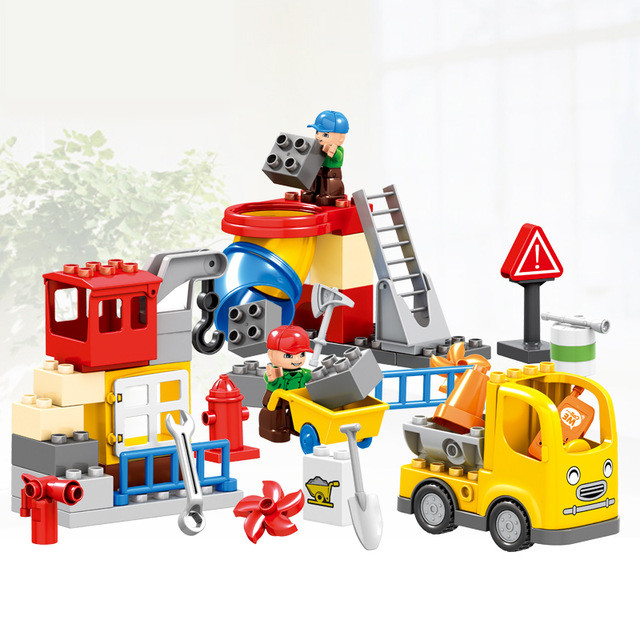 51PCS City Construction Team Worker Truck Crane Educational Brick Set Boys Role Play Toys Compatible with Duplo Christmas Gift