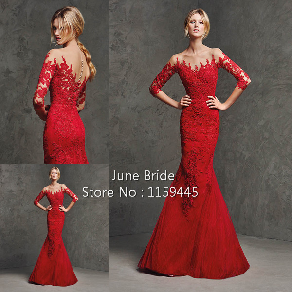 New arrival red lace wedding dresses 3 4 sleeves illusion for Red wedding dresses with sleeves