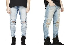 pants korean mens designer clothes fashion denim jumpsuit black/light blue skinny destroyed ripped distressed jeans TC125