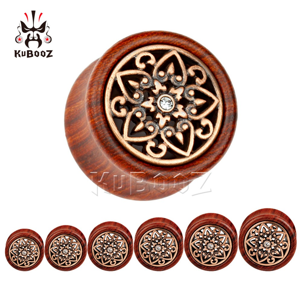 2018 Kubooz piercing red sandalwood with bronze flower ear piercing plug body jewelry tunnels wholesale gauges