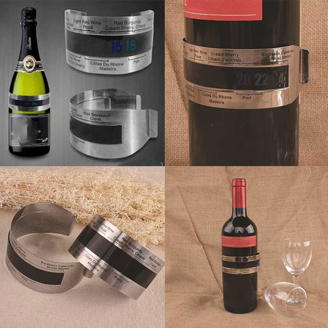 Newest Stainless Steel Wine Bracelet Thermometer 4--26 degree centigrade Red Wine Temperature Sensor Wine Thermometer image