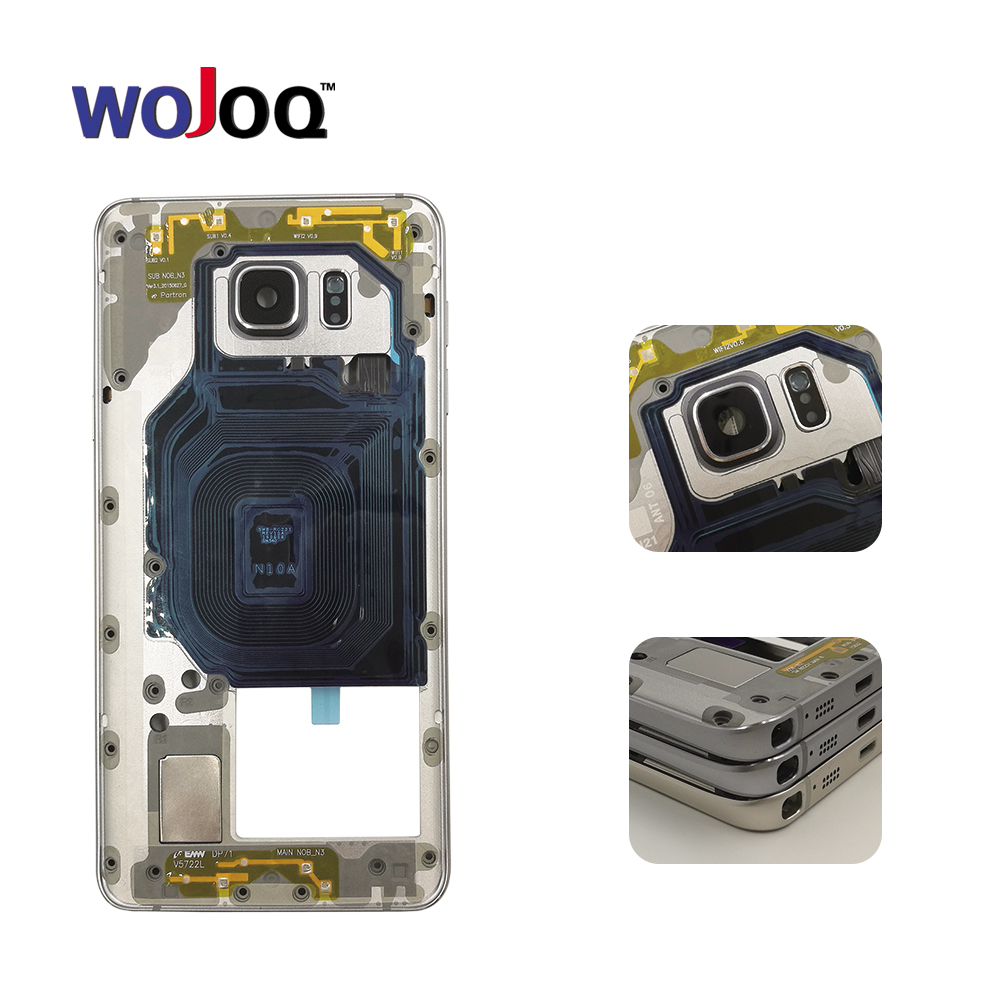 WOJOQ Original New For Samsung Note 5 N920 Middle Plate Housing Chassis Frame Bezel + Side Button + Camera Lens + NFC Parts