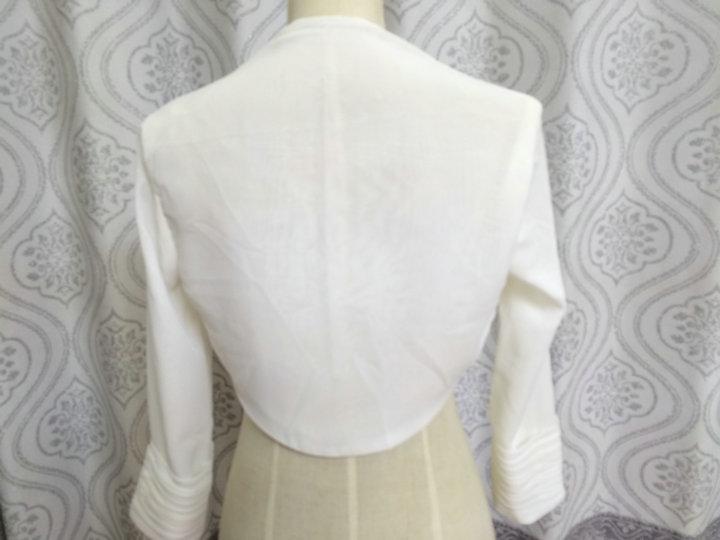 Lange mouw kanten bolero sjaal en wikkel chiffon Fourrure wit ivoor - Bruiloft accessoires - Foto 6