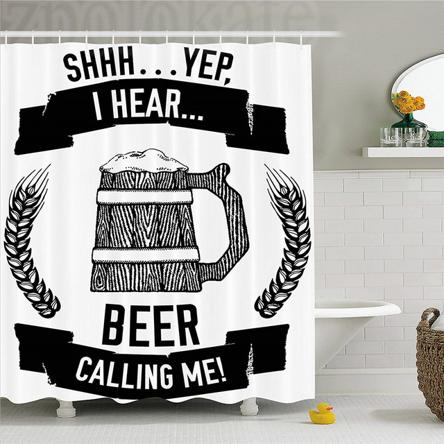 Man Cave Decor Shower Curtain I Hear Beer Calling Me Quote Hand Drawn Lager Stout Ale Wheat Mug Art Fabric Bathroom Set