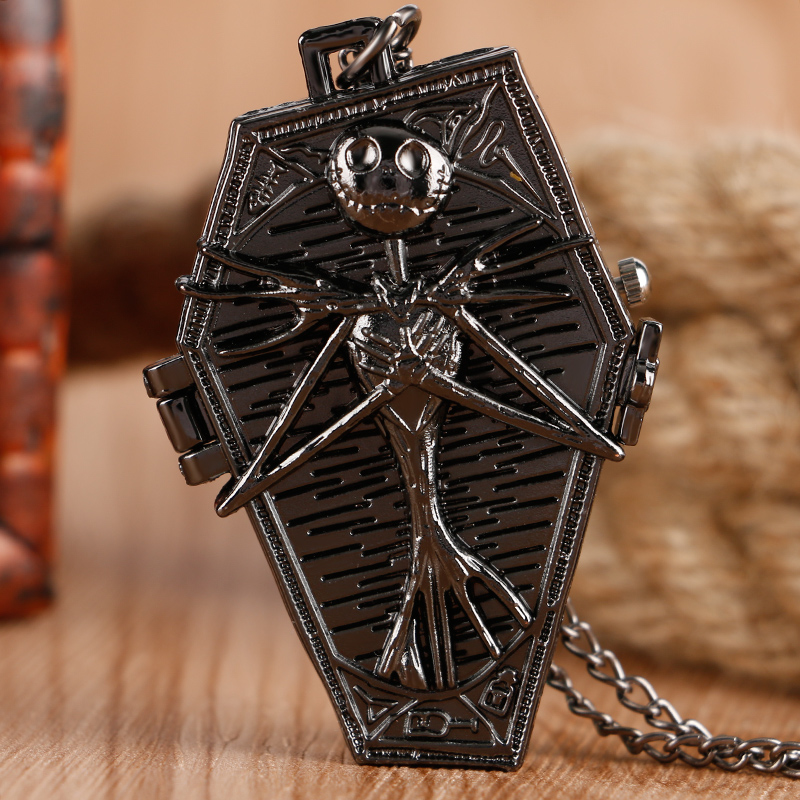 Charm Black Steampunk The Nightmare Before Christmas Quartz Pocket Watch Men Women Kids Necklace Pendant With Chain Cool Gifts
