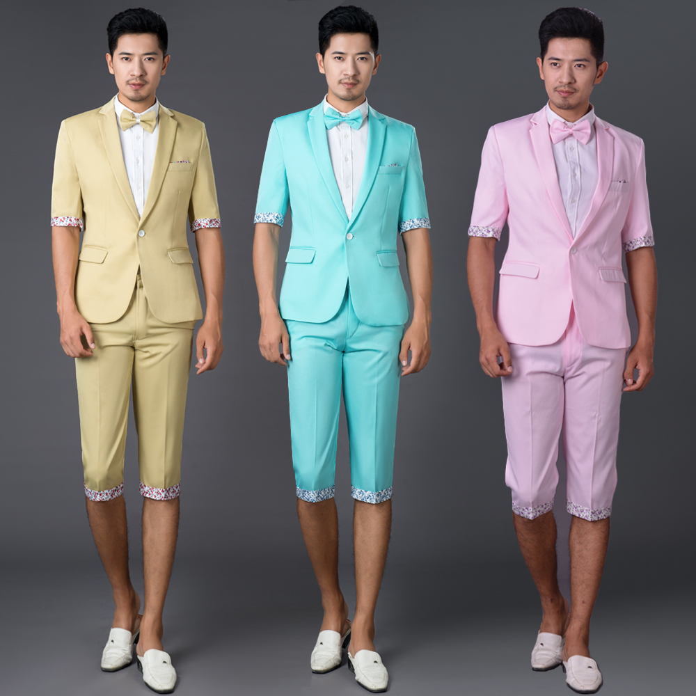 2020  Photography Suits Men Cultivating Leisure Suit Korean Short Sleeve Color Suits Theatrical Costume Pants Small Suit