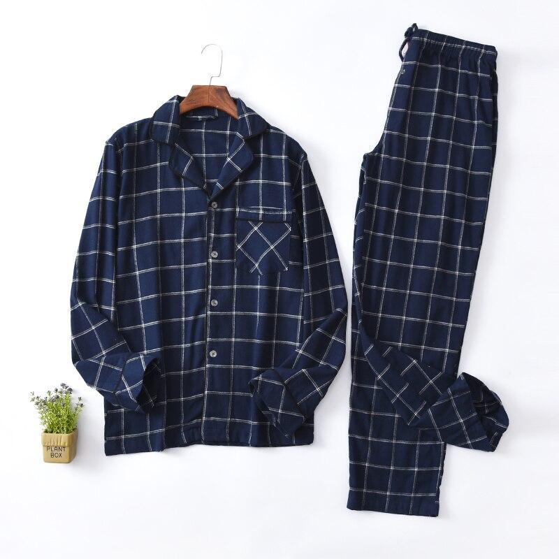 Men's Pajamas Spring And Autumn Long Sleeve Cotton Plaid Pajama Set