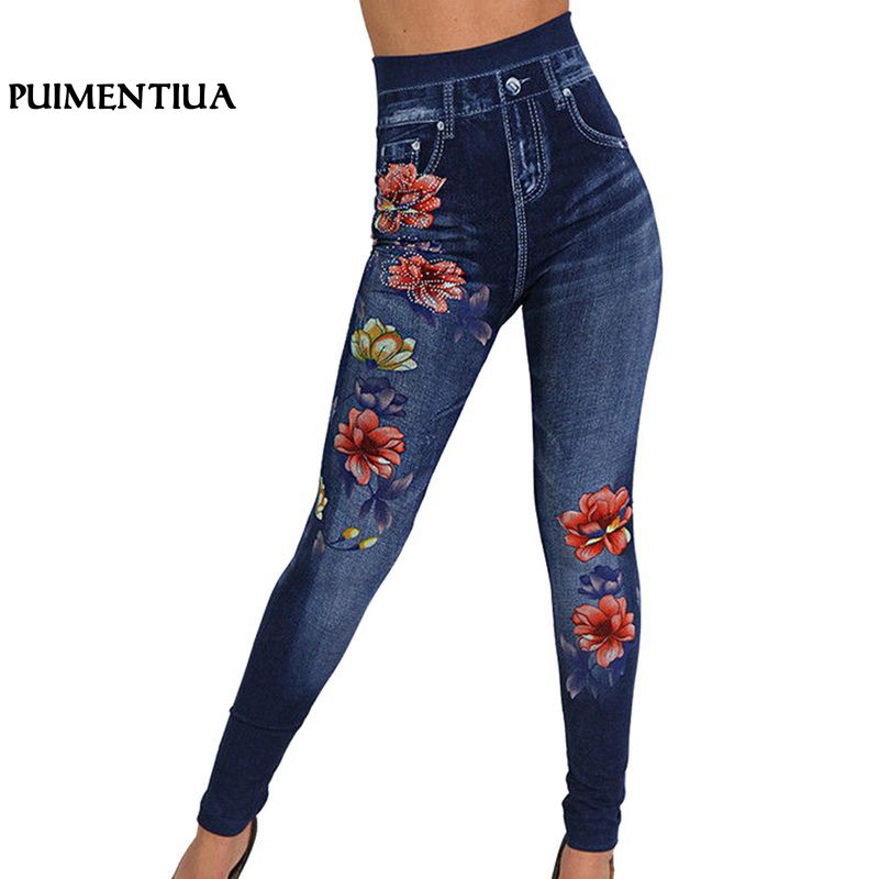 Puimentiua 2018 Women Stretch High Waist Skinny   Jeans   Floral Print Denim Trousers Black Pencil Pants Leggings   Jeans   Plus Size