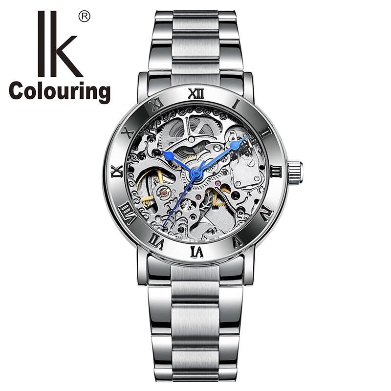 IK 40005 Watch Women Roman Wristwatch Skeleton Auto Mechanical Stainless Steel Band Clock Girls Regarder