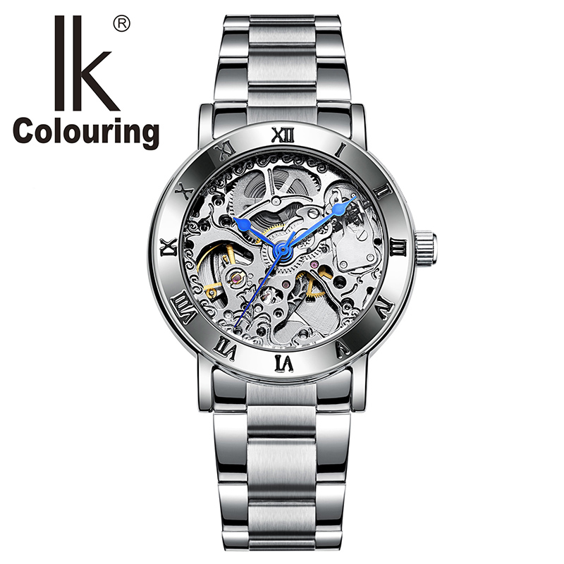 IK 40005 Watch Women Roman Wristwatch Skeleton Auto Mechanical Stainless steel band clock girls regarder