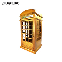 Gohide Home Decoration Vintage Telephone Booth Rectangle Music Box Birthdday Gifts Wooden Music Box Gifts For Valentine's Day