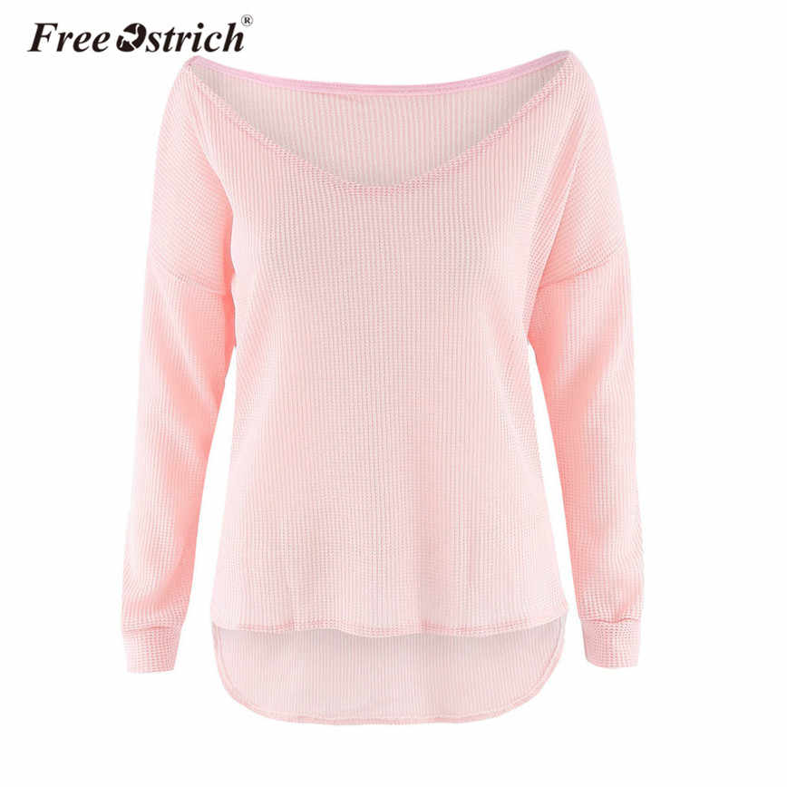 295153209 Free Ostrich Sweater Women V-Neck Irregular Female Pullovers Casual Loose Knitted  Long Sleeve Oversized
