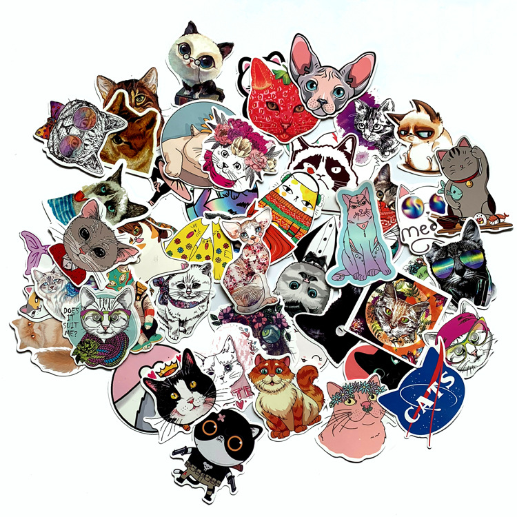 50 Pcs Cute Cats Animal Graffiti Sticker Mixed Style Toys For Suitcase Laptop Bike Luggage Car Scooter Skateboard Sticker