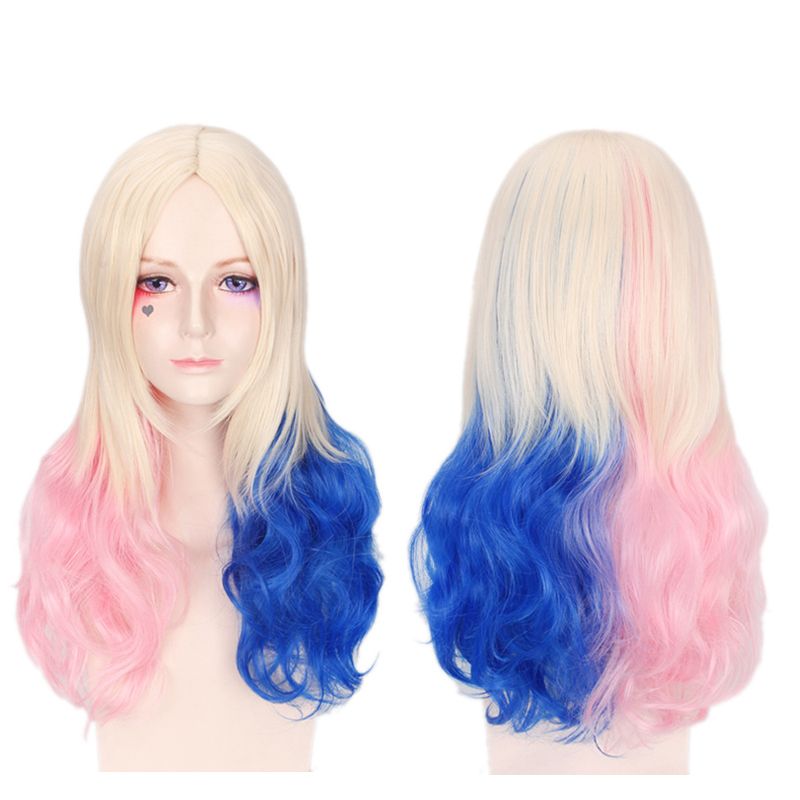 Batman Suicide Squad Harleen Quinzel Long Curly Wig Cosplay Costume Harley Quinn Women Heat Resistant Synthetic Hair Party Wigs