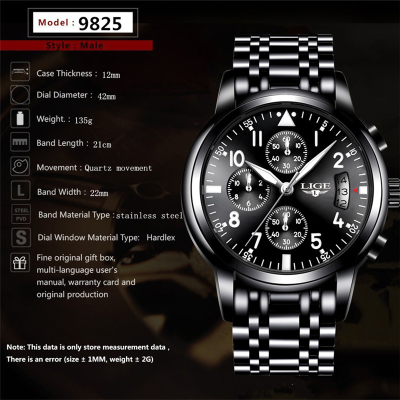 2018 LIGE Men's Watches Fashion Business Quartz Clock Men Top Brand Luxury Male Sport Watch Waterproof Wristwatch Relojes Hombre
