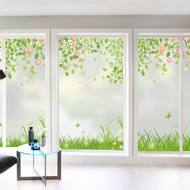 Window paper window stickers small fresh bathroom toilet light decoration bedroom slidin ...