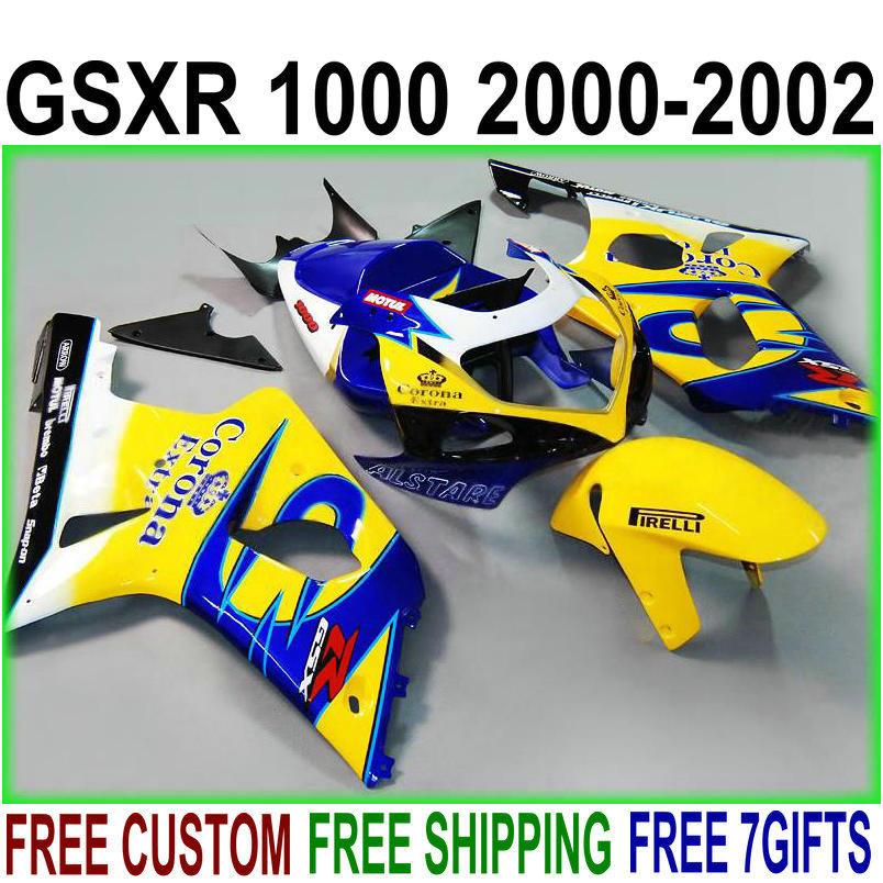 7 бесплатные подарки мотоцикл обтекателя Kit для Suzuki gsxr1000 2000 2001 2002 K1 и K2 желтый синий обтекатели комплект GSXR 1000 00 01 02 IU38