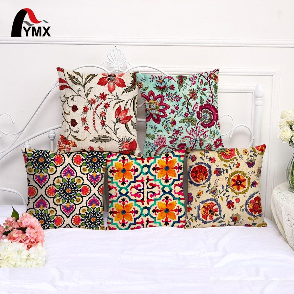 New Fashion Flower Pattern Cushion Cover Cotton Linen Pillow Case Car Sofa Home Decorative Floral Pillowcase cojines decoracion