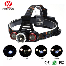 PANYUE Outdoor Head Lighting 10W LED Headlight 4 Modes 2000LM 3 lamp 1*T6+2*R2 HeadLamp for Camping Fishing