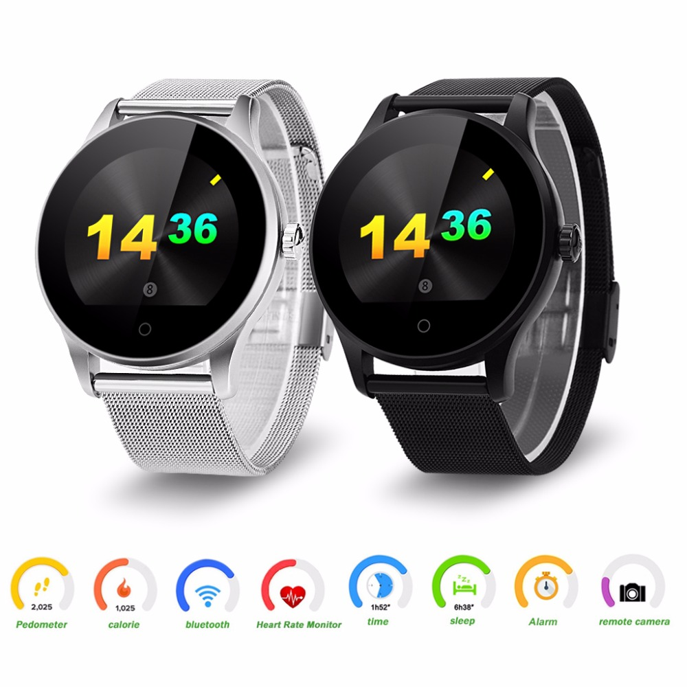 Prix pour Excelvan K88H Smart Watch 1.22 Pouces Ronde Support D'écran Moniteur de Fréquence Cardiaque Bluetooth smartWatch Pour apple huawei IOS Android