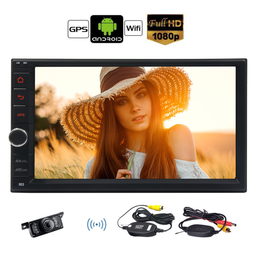 7 Touch Screen Car Stereo GPS Navigation + Wireless Rear View Camera, 2 Din Android 6.0 Car Radio Stereo 2 Din GPS Navigation 2 din