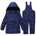 Jaquetas Para Os Meninos Da Menina Crianças Roupas de Inverno Quente Casaco Snowsuit Crianças Outerwear Conjunto de Roupas Com Capuz Impressão Macacão Macacão