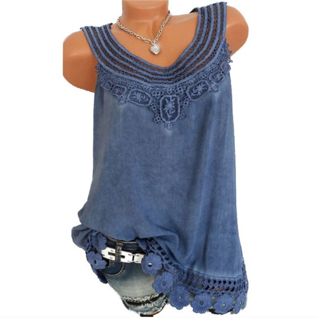 c450859e77c Summer top Plus size 5XL Women O-Neck Sleeveless Pure color Lace Vest Tops  Loose female T-shirt Solid 8 Colors Casual white tank