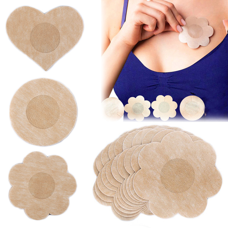 10pcs/5pairs Invisible Breast Petals Sexy Disposable Soft Non-woven Nipple Cover Breast Underwear Accessories For Summer