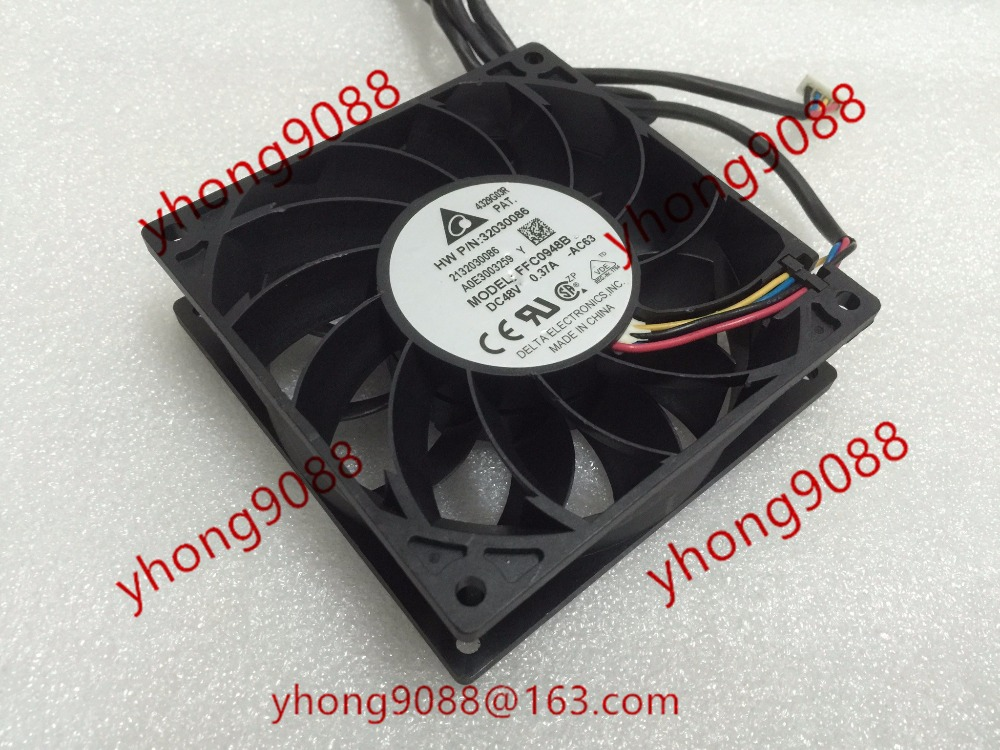 Free Shipping For DELTA FFC0948B, -AC63 DC 48V 0.37A, 92x92x25mm 4-wire Server Square Cooling Fan free shipping for delta pfb0848dhe ck2a dc 48v 1 00a 80x80x38mm 4 wire server square cooling fan