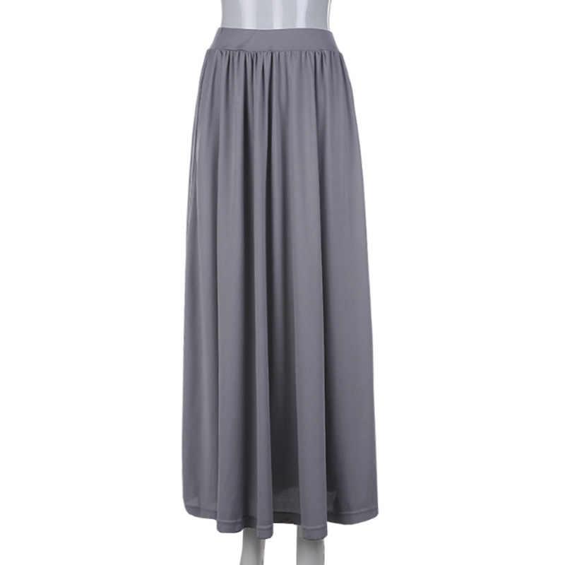 e3b2fb62b Faldas largas de lino para mujer cintura elástica plisada Maxi faldas playa  Boho Vestidos Vintage Chic Colorblock cintura alta estilo coreano