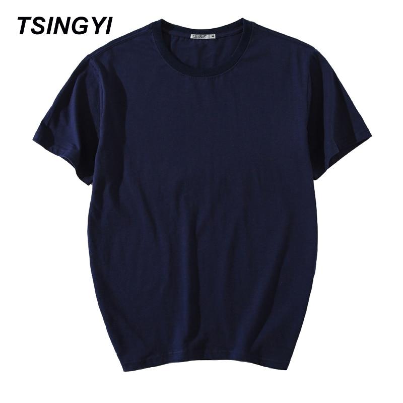 Tsingyi suve vabaaja tahke t-särk meestele 100% puuvillane kaelus lühikeste varrukatega hip-hop kompressioonist t-särk Homme Aasia suurusega topid