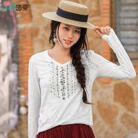 INMAN 2018 Spring Clothes Cotton V Neck Embroider Long Sleeves T Shirt Women Tops