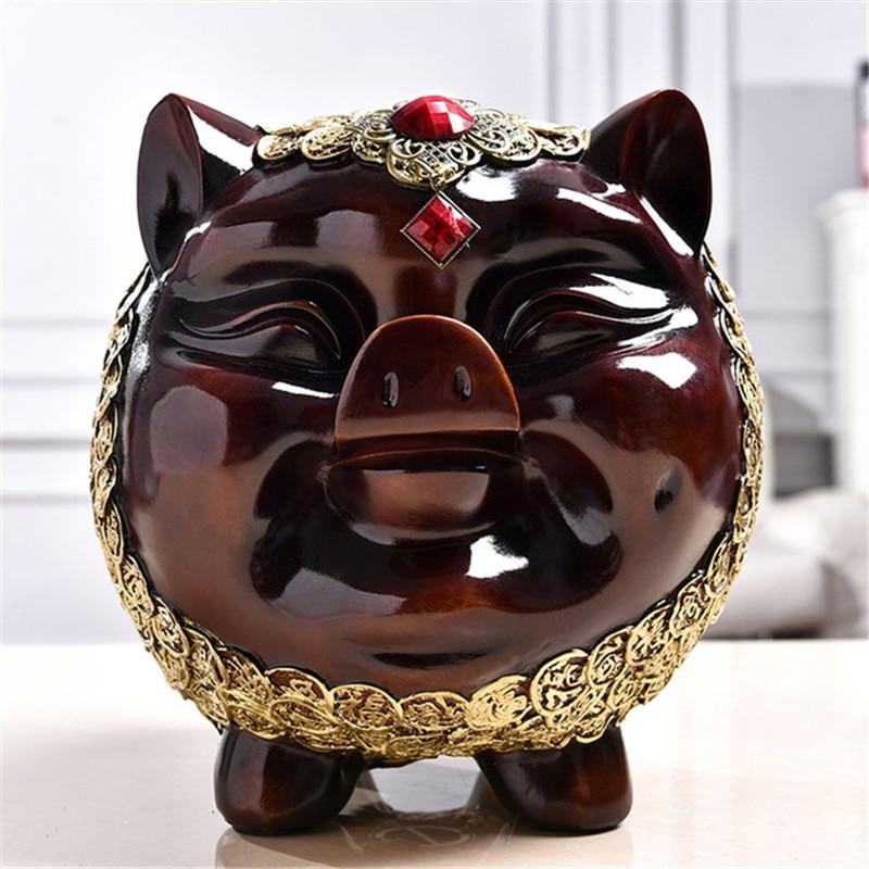 Vintage résine tirelire cochon bébé économie boîte argent pièce de rangement tirelire décor à la maison accessoires cochon Figurines Miniature Statue